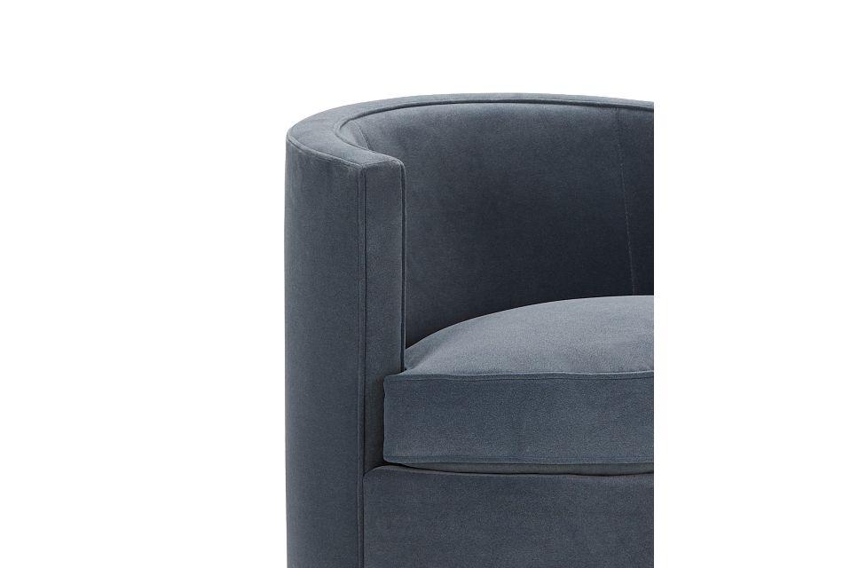 Fleur Dark Blue Velvet Swivel Accent Chair