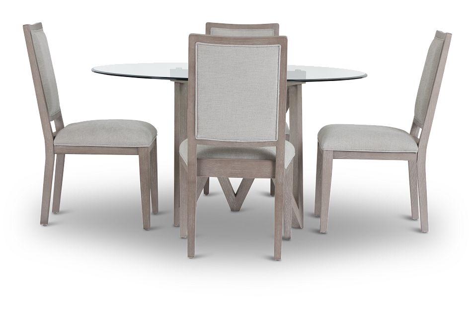 Tribeca Light Tone Glass Table & 4 Wood Chairs,  (3)