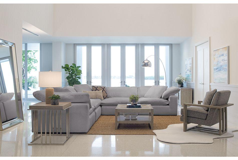 Nixon Light Gray Fabric 5-piece Modular Sectional