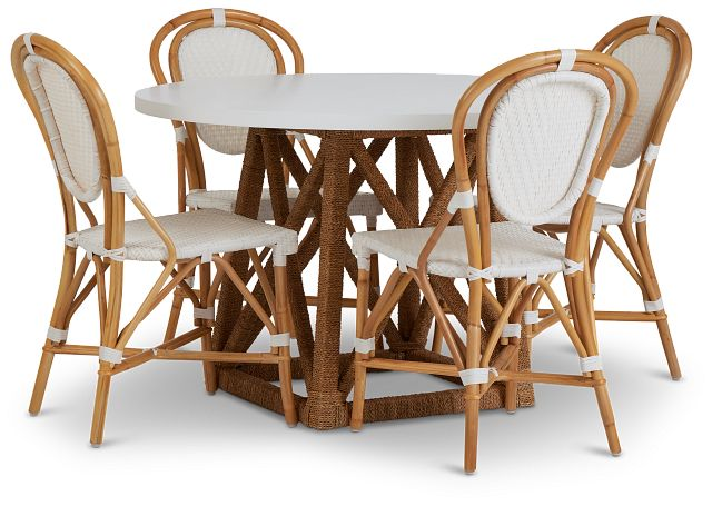 Greenwich Two-tone Round Table & 4 Rattan Chairs (1)