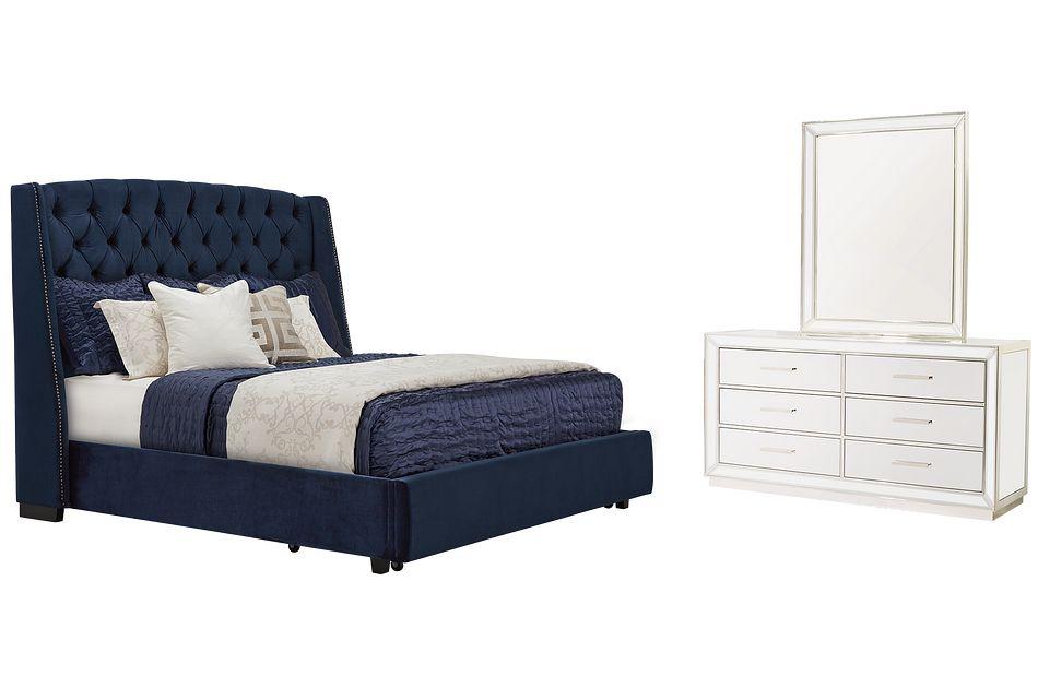 Raven Dark Blue  MIRRORED Platform Storage Bedroom, King (0)