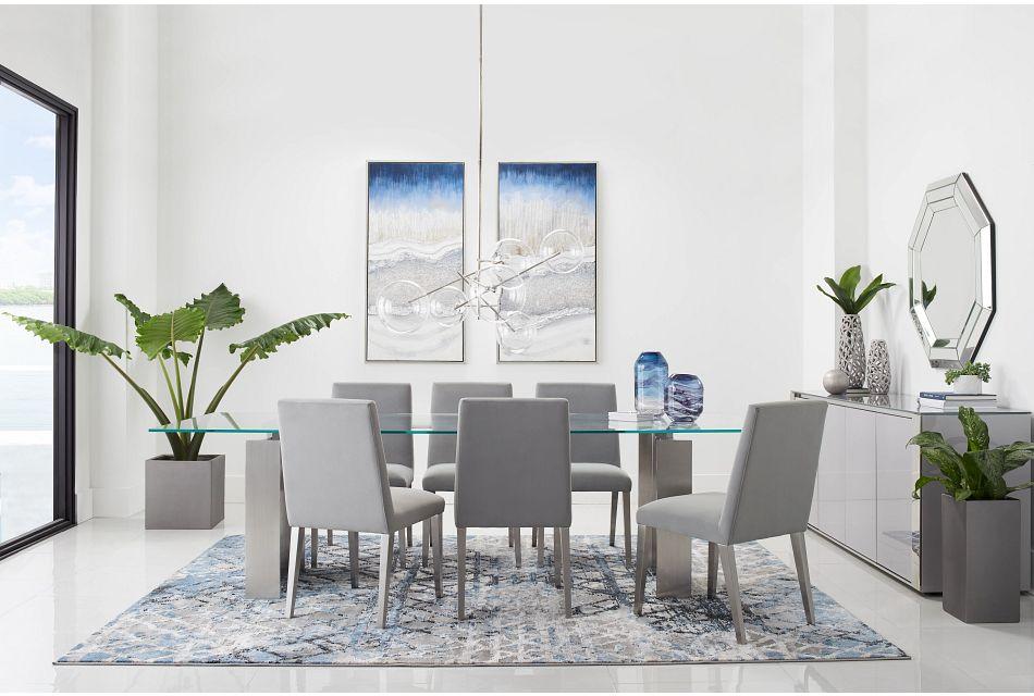 "Omnia Glass 104"" Rectangular Table & 4 Metal Chairs,  (1)"