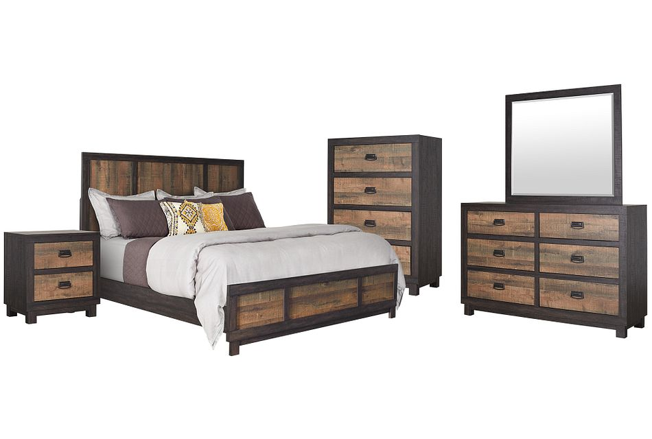Harlington Dark Tone Panel Bedroom Package