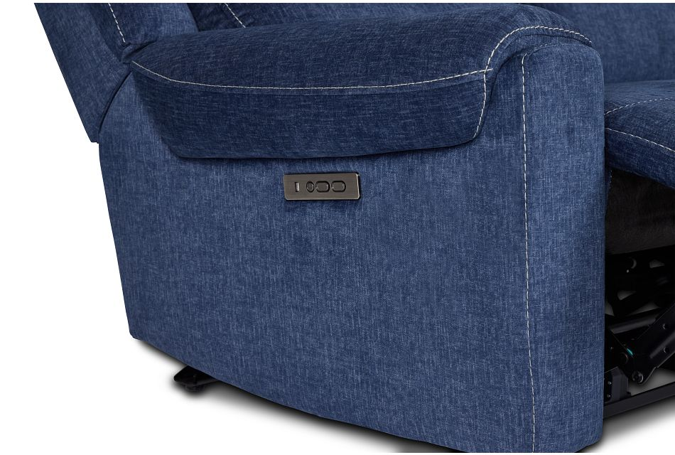 Beckett Dark Blue Micro Small Two-arm Power Reclining Sectional