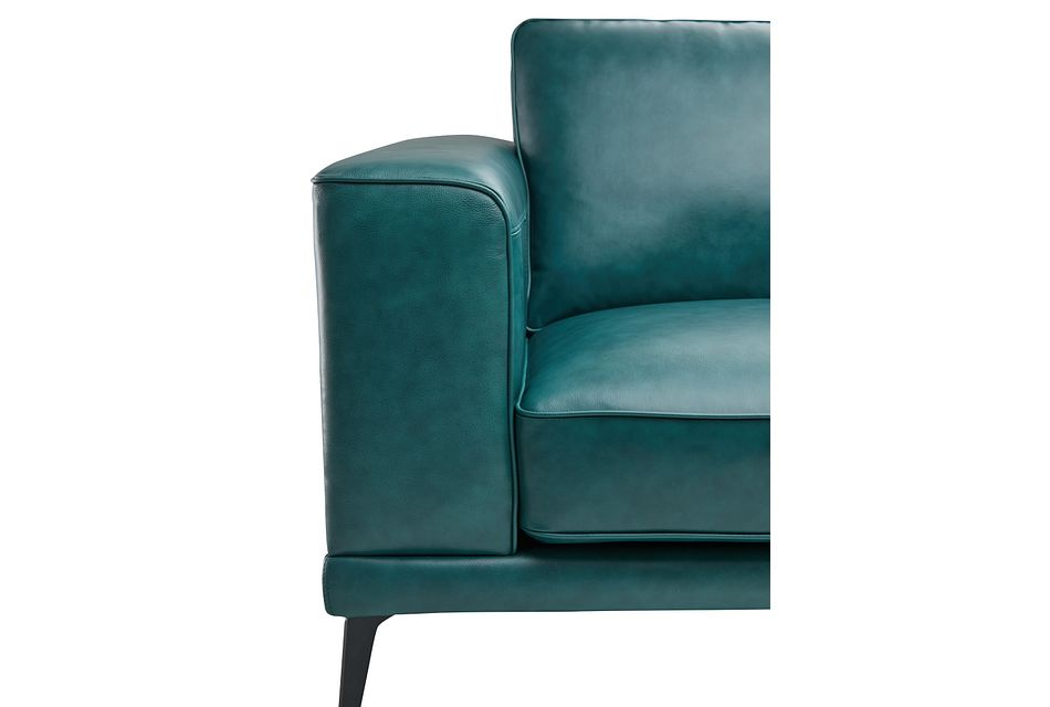 Naples Turquoise Leather Loveseat With Black Legs