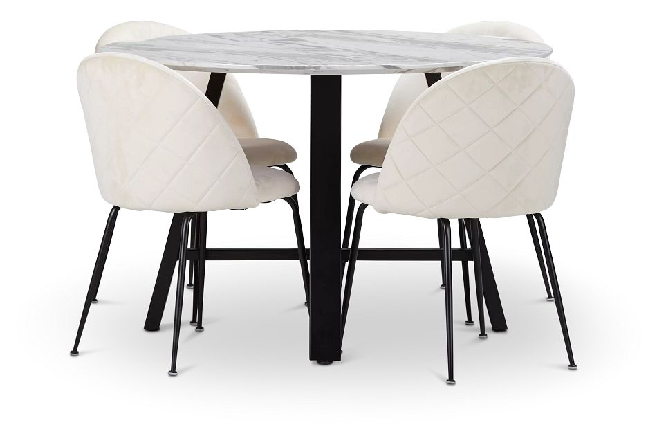 Capri Black Ivory Round Table & 4 Upholstered Chairs