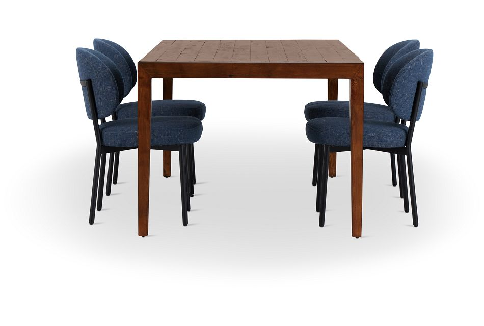 Chicago Dark Tone Rect Table & 4 Dark Blue Upholstered Chairs,  (2)