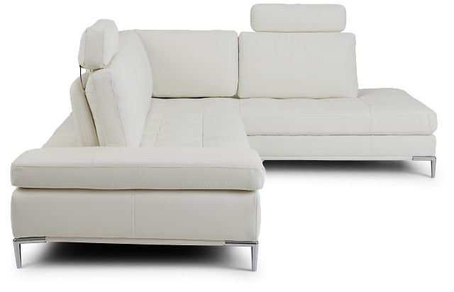 Camden White Micro Right Chaise Sectional With Removable Headrest (2)