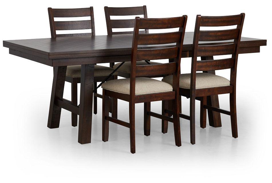 Jax Dark Tone Rect Table & 4 Wood Chairs