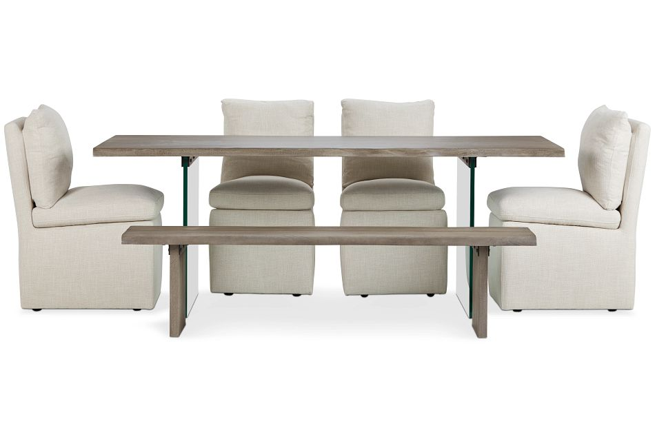 Carmel Light Beige Wood Table, 4 Chairs & Bench
