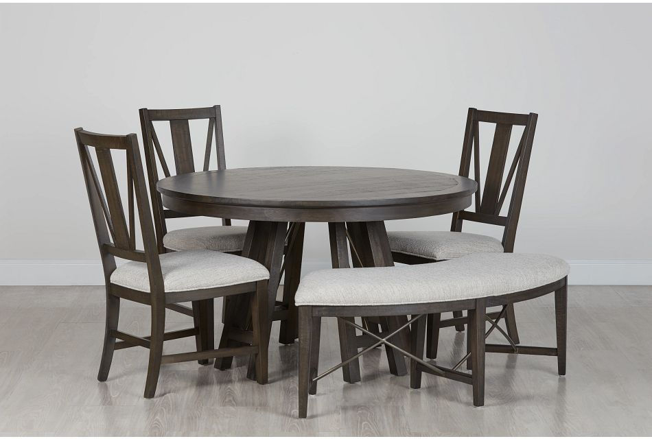 Heron Cove DARK TONE ROUND Table, 3 Chairs & Bench,  (0)