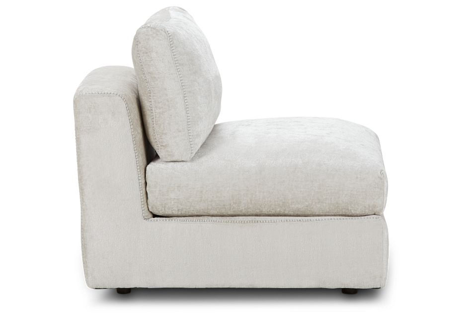 Oasis Light Beige Fabric Armless Chair, %%bed_Size%% (2)