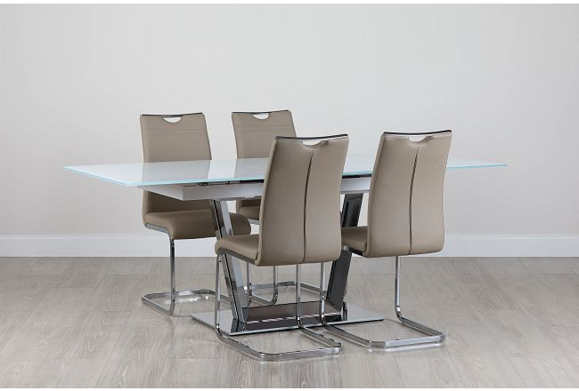 Treviso Taupe Glass Table & 4 Upholstered Chairs