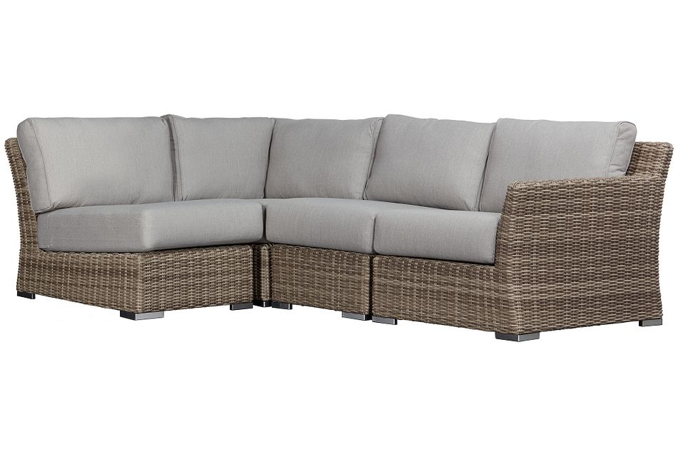 Raleigh Gray Right 4-piece Modular Sectional