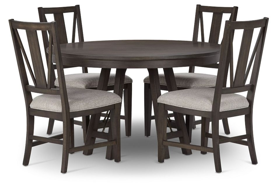 Heron Cove Dark Tone Round Table & 4 Upholstered Chairs