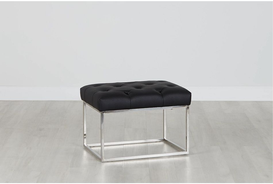 Celeste Black Small Accent Ottoman