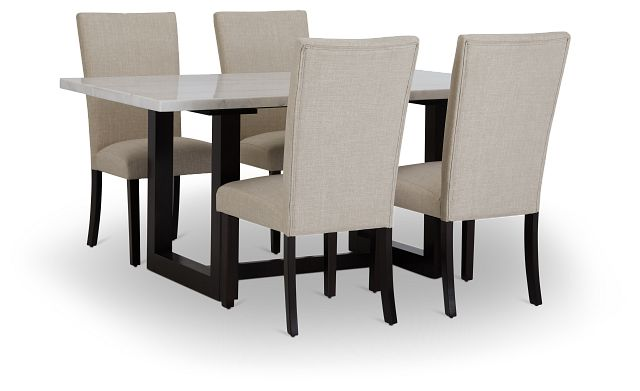 Paloma White Marble Rectangular Table & 4 Upholstered Chairs (2)