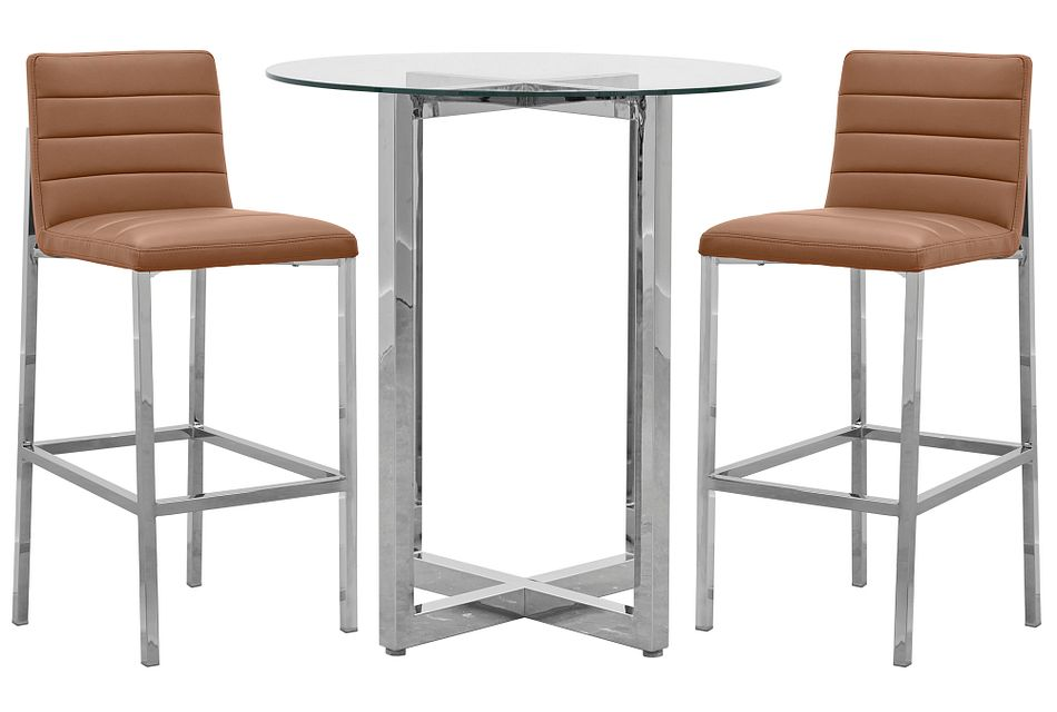 Amalfi Brown Glass Pub Table & 2 Upholstered Barstools