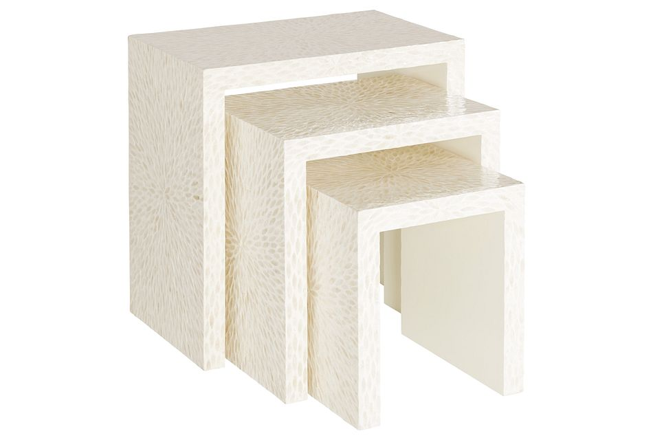 Capiz Light Beige Set Of 3 Nesting Tables