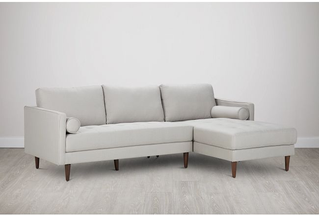 Rue Light Beige Fabric Right Chaise Sectional