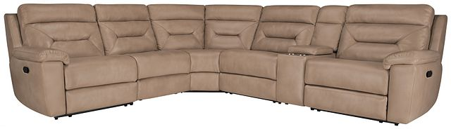 Phoenix Dark Beige Micro Small Two-arm Manually Reclining Sectional (0)