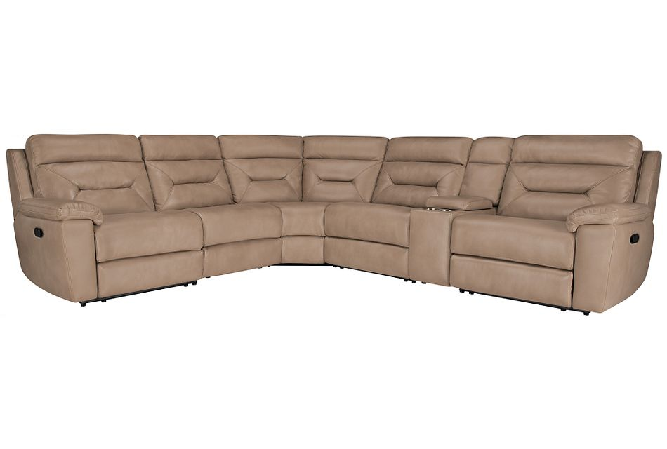 Phoenix Dark Beige  MICRO Small Two-Arm Manually Reclining Sectional