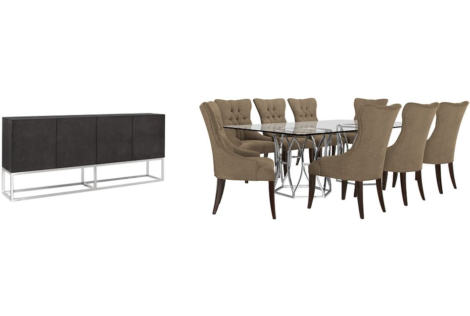 Argent Khaki Rect Dining Room