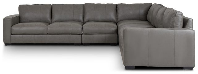 Dawkins Gray Leather Large Two-arm Sectional (2)