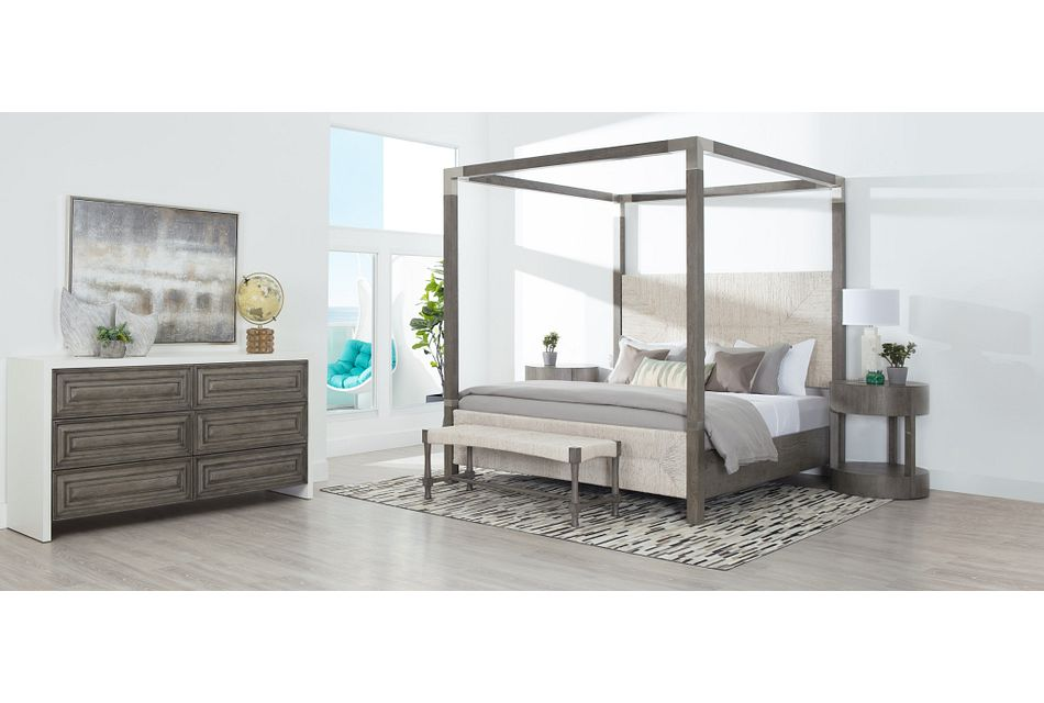 Palma Light Tone Woven Canopy Bed