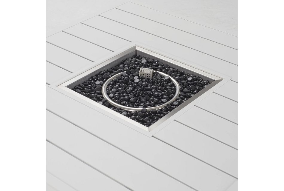 Linear White Square Fire Pit
