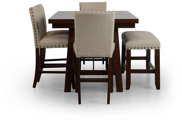 Jax Beige High Table, 4 Barstools & High Bench (2)