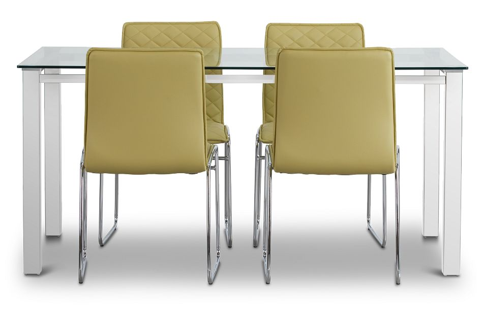 Skyline Light Green Rect Table & 4 Metal Chairs