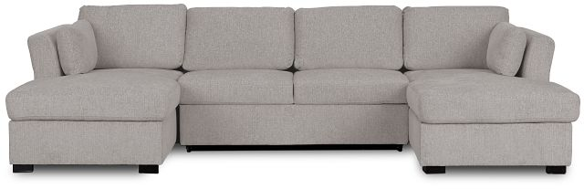 Amber Light Gray Fabric Double Chaise Sleeper Sectional