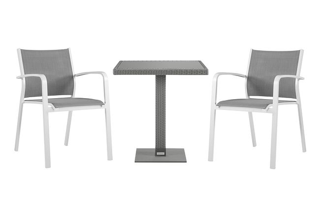 """Lisbon Gray 27"""" Square Table & 2 Chairs"""