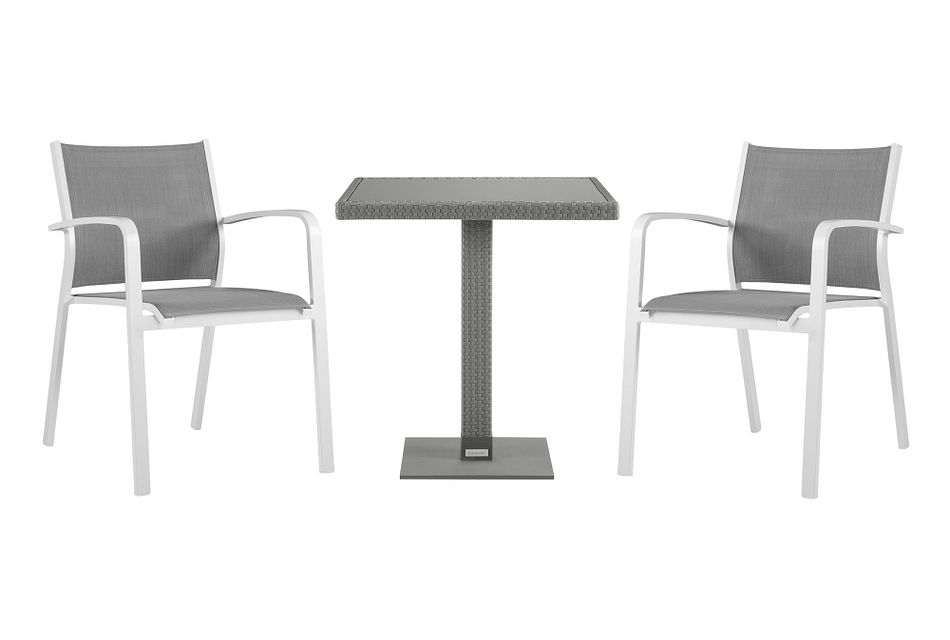 "Lisbon Gray 27"" Square Table & 2 Chairs"