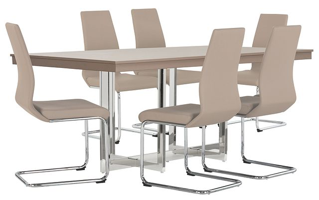 Cortina Champagne Rect Table & 4 Upholstered Chairs (1)