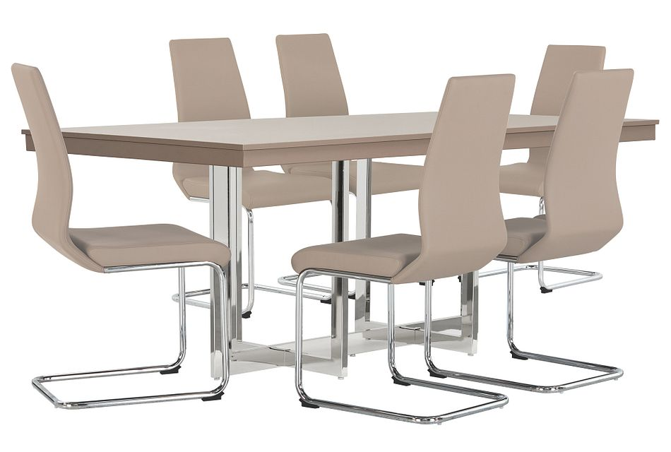 Cortina Champagne Rect Table & 4 Upholstered Chairs