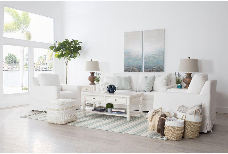 Bree White Fabric Sofa
