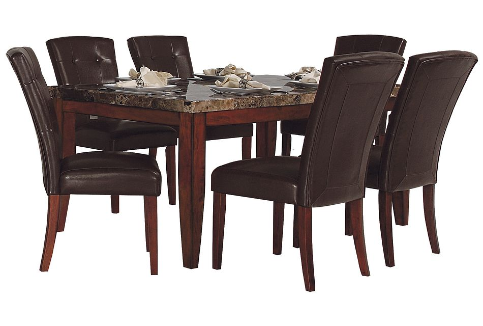 City Lights Rectangular  MARBLE Table & 4 Upholstered Chairs