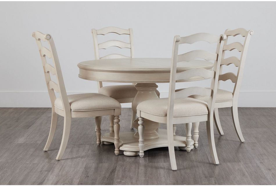 Savannah Ivory Round Table & 4 Chairs,  (0)