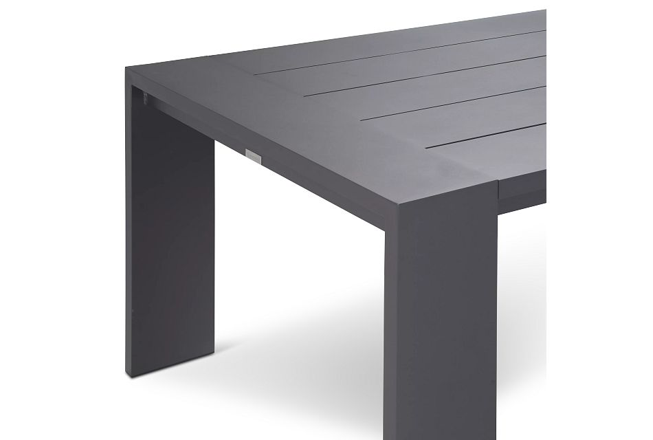 "Linear Dark Gray White 110"" Aluminum Table & 4 Teak Cushioned Side Chairs"