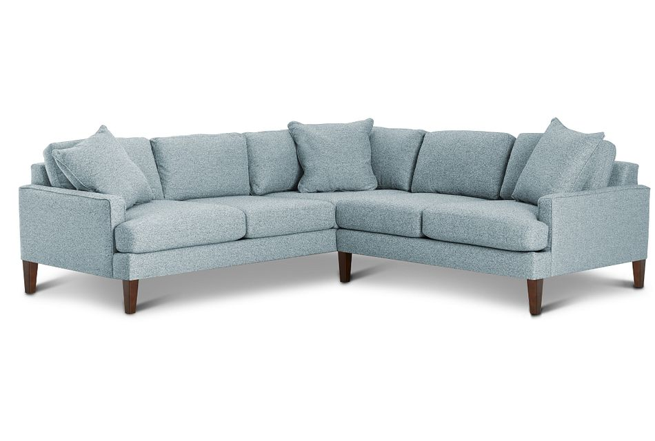 Morgan Teal Fabric Small Left 2-arm Sectional W/ Wood Legs