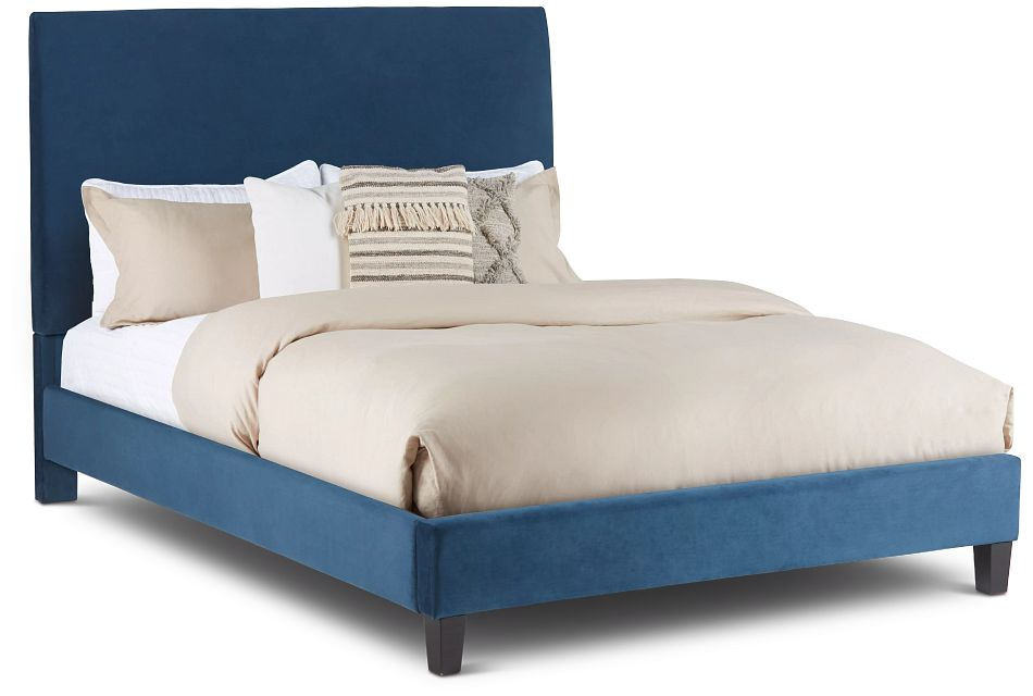 Lucy Dark Blue Uph Platform Bed