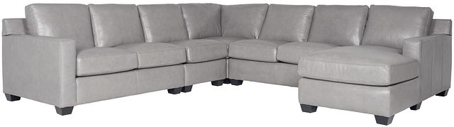 Carson Gray Leather Large Right Chaise Sectional (0)