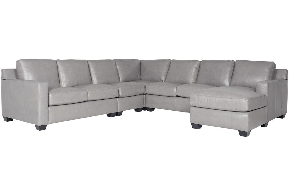 Carson Gray Leather Large Right Chaise Sectional