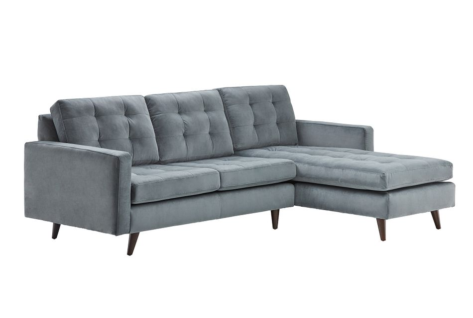Mila GRAY VELVET Right Chaise Sectional