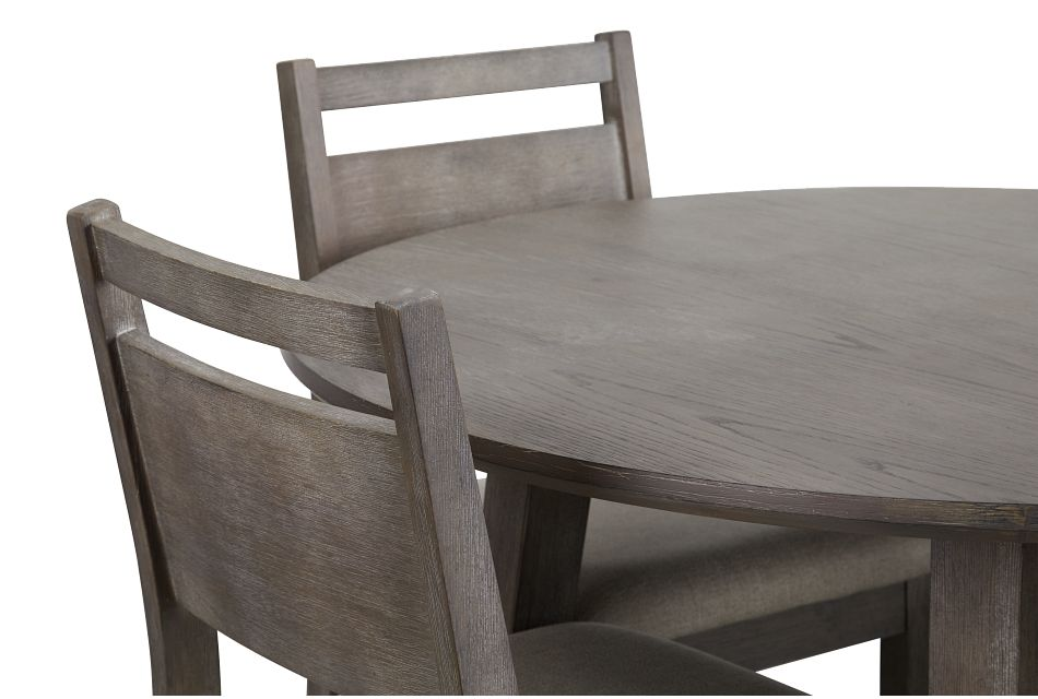 Rockville Light Tone Round Table & 4 Upholstered Chairs,  (3)