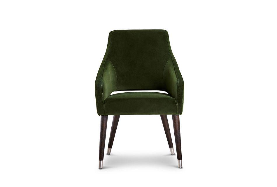 Naveen Dark Green Velvet Upholstered Arm Chair