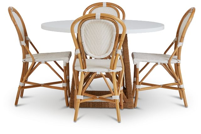 Greenwich Two-tone Round Table & 4 Rattan Chairs (2)