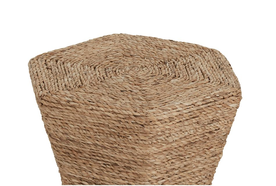 Seaside White Woven Accent Table